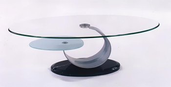 Elegant Modern Contemporary Glass Brush Chrome Coffee Table