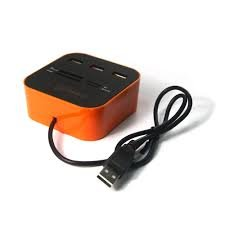 iconnect world 3 Ports USB 2.0 HUB Multi-card Reader for Sd/mmc/m2/ms Mp-all in One (ORANGE)