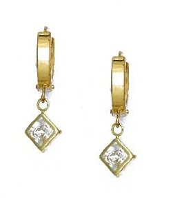 14ct Yellow Gold 5 mm Princess Clear CZ Drop Earrings