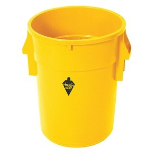 Round Container, 44 Gal, 24 In, Yellow