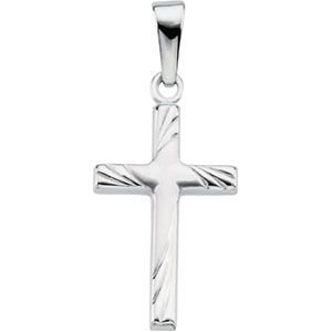 R41281 14K White Gold, 17.5X12, Cross Pendant