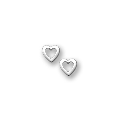 Sterling Silver Children's Polished Open Heart Earrings