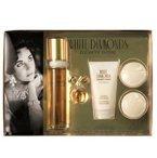 Elizabeth Taylor White Diamonds Gift Set for Women (Eau De Toilette Spray, Parfum, Lotion, Soaps)