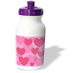 Patricia Sanders Creations - Lovable Pink Hearts - Fun Art - Water Bottles