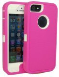 Iphone5/5s Defender Body Armor Case Comparable to Otterbox Defender Series (pink/white)