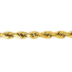 10K Solid Yellow Gold Diamond Cut Rope Chain Necklace 4mm thick 18 Inches