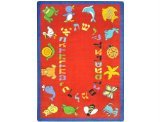 "Joy Carpets Kid Essentials Early Childhood Hebrew Alphabet ABC Animals Rug, Red, 10'9"" x 13'2"""