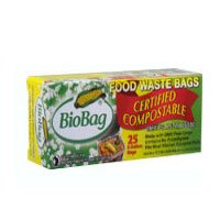 Biobag Biodegradable 3-Gallon Composting Bags / Package of 25