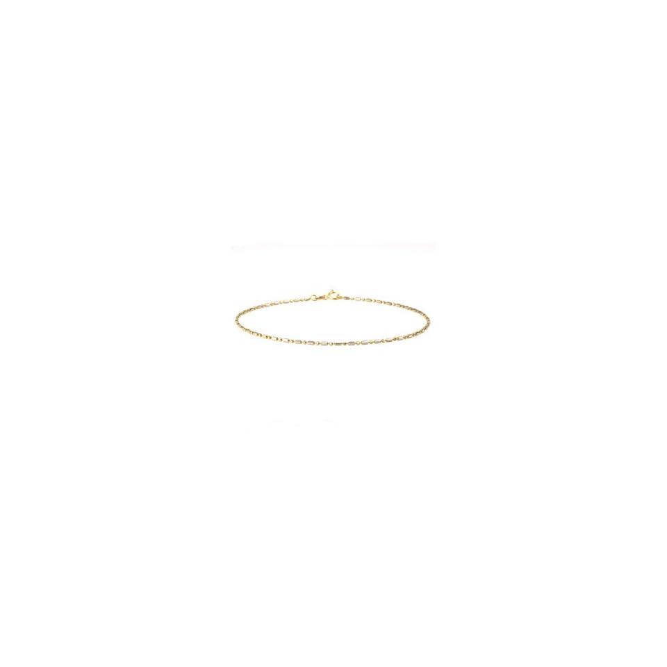 14k Yellow & White Gold Diamond Cut Bead Anklet (9 3/4)