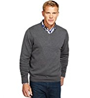 2in Longer Blue Harbour Pure Cotton V-Neck Jumper