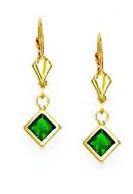 14ct Yellow Gold 5 mm Square Green CZ Drop Earrings
