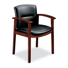 "HON Company Products - Guest Chair, Hardwood, 23-1/2""x22""x33-5/8"", H.Cherry/BK Leather - Sold as 1 EA - Park Avenue guest chair offers the rich look of leather and finished hardwood. Thick, seam-sewn back cushion offers lumbar and upper-back support. Outer back is fully upholstered. Design features curved wood arms. Chair is certified by SCS to be in compliance with specific indoor air quality emission requirements. Meets or exceeds ANSI/BIFMA standards."