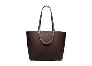 Michael Kors Harper Specchio Large East West Tote Bag Handbag Coffee Brown