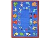"Joy Carpets Kid Essentials Early Childhood Hebrew Alphabet ABC Animals Rug, Blue, 5'4"" x 7'8"""
