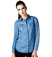 Limited Collection Classic Collar Denim Shirt with Linen