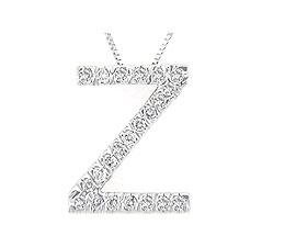 Alphabet Z Diamond Initial Pendant in 14k White Gold
