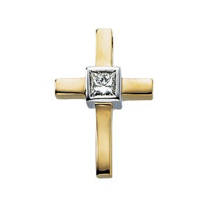 Genuine IceCarats Designer Jewelry Gift 14K Yellow Gold Diamond Cross