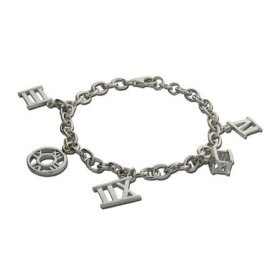 Sterling Silver Roman Numeral Charm Bracelet