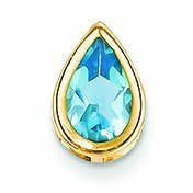 PriceRock 1.6 Carat 14K Gold 9X6mm Pear Blue Topaz Bezel Pendant