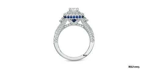 VERA WANG LOVE COLLECTION 1.72CT TCW PRINCESS ROUND DIAMOND BLUE SAPPHIRE 14K WHITE GOLD ENGAGEMENT WEDDING RING, ALL US SIZE 4 TO 13 AVAILABLE