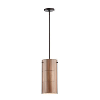 Forecast Lighting F1835-70 Hanalei Bay One-Light Pendant with Bamboo Shade and Clear Outer Glass Cylinder, Merlot Bronze