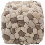 Surya Pebble Pouf Oyster Gray Dark Taupe Desert Sand