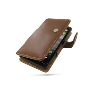 PDair Leather case for Motorola DROID X MB810 - Book Type (Brown)