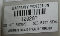 100 Tamper Evident Silver Warranty Labels with Bar Code and Sequential Numbering