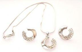 Stylish Moon Shape Diamante Necklace & Pierced Earrings : Fashion Jewellery Sets