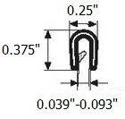 "Edge trim black small 0.375"" U height x 0.039"" - 0.093"" Grip range"