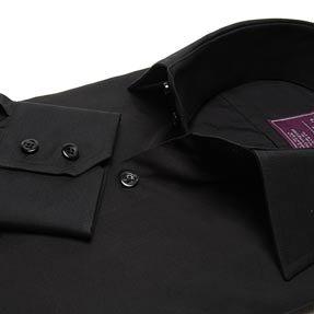Mens Slim-Fitted Plain Black Poplin Casual Shirt