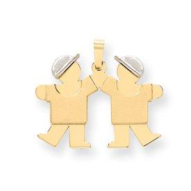 14k Two-Tone Small Double Boys Engraveable Charm - JewelryWeb