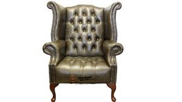 Chesterfield Cavendish Buttoned Seat Flat Wing Queen Anne High Back Wing Chair UK Manufactured Hand Dyed Old English Alga Leather