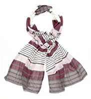 M&S Collection Lightweight Multi-Striped Scarf