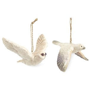 White Velvet Bird Christmas Ornaments , Owl and Bird, Set of 2
