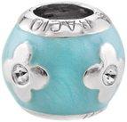 Bacio Italian Swarovski Bead Enamel Light Sea Blue Flower Petal Charm. Fits in Pandora,Trollbead,Chamilia Bracelets.