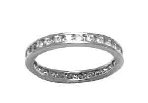 Size 7 1/2 Eternity Channel Cubic Zirconia Band 14k White Gold Ring