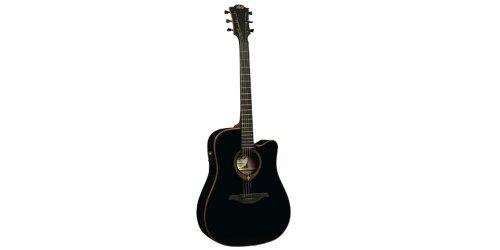 Lag T100Dceblk Stage Dreadnought Cutaway Acoustic-Electric Guitar - Black