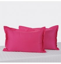 Swayam Drape And Dream Sonata Classic Satin Damask Cotton 2 Piece Pillow Cover Set - Indian Pink (PCS02)