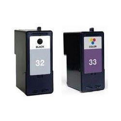 Hornsea Rebuilt 2 pack Lexmark 32 schwarz x 1, Lexmark 33 Farbe x 1, Kompatibel Ersatz für hohe Kapazität gefüllt Tintenpatronen.