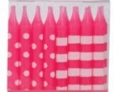 Oasis Supply Stripes and Dots Birthday Candles, 2.5-Inch, Pink - 1