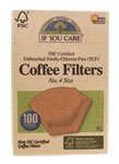 Unbleached Coffee Filters, #4 cone, 100 count.