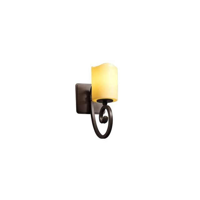 Justice Design CNDL 8571 30 CREM ABRS Victoria One Light Wall Sconce, Glass Options CREM Cream Shade, Choose Finish Antique Brass Finish, Choose Lamping Option Standard Lamping