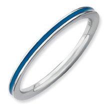 Heavenly Creative Silver Stackable Blue Enamel Band. Sizes 5-10 Available