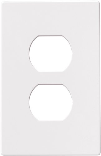 Cooper Wiring Devices PJS8W Polycarbonate 1-Gang Screwless Duplex Receptacle Mid Size Wall Plate, White