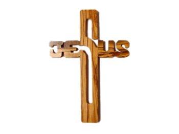 Olive Wood Jesus Name Cross