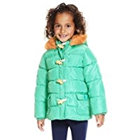 Faux Fur Hooded Padded Thermal Duffle Coat with Stormwear™