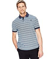 Blue Harbour Slim Fit Pure Cotton Fine Striped Polo Shirt