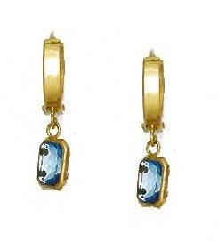 14ct Yellow Gold 7x5 mm Emerald-Cut Aquamarine-Blue CZ Earrings