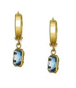 14ct Yellow Gold 7x5 mm Emerald-Cut Aquamarine-Blue CZ Earrings